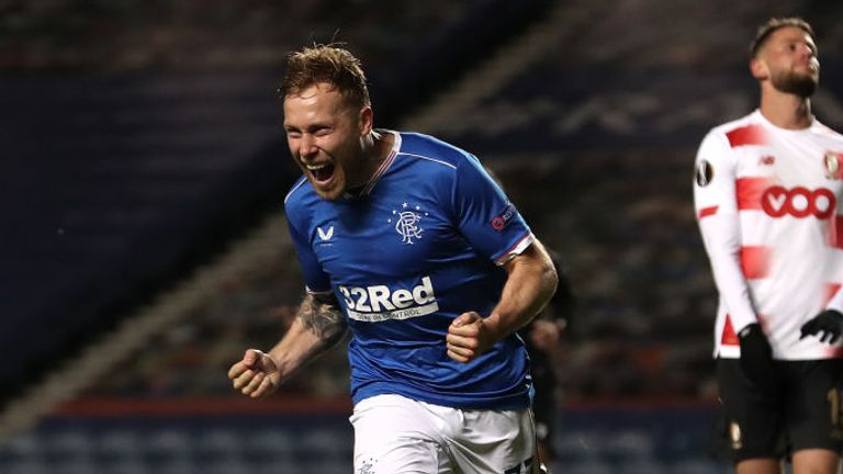 Scott Arfield celebrates giving Rangers the lead