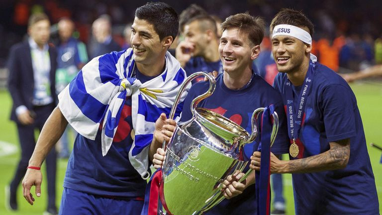 The formidable trio of Luis Suarez, Lionel Messi and Neymar inspired Barcelona to the 2015 treble