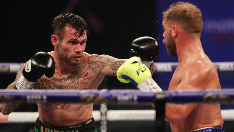 Martin Murray flicks a jab at Billy Joe Saunders - credit Matchroom Boxing