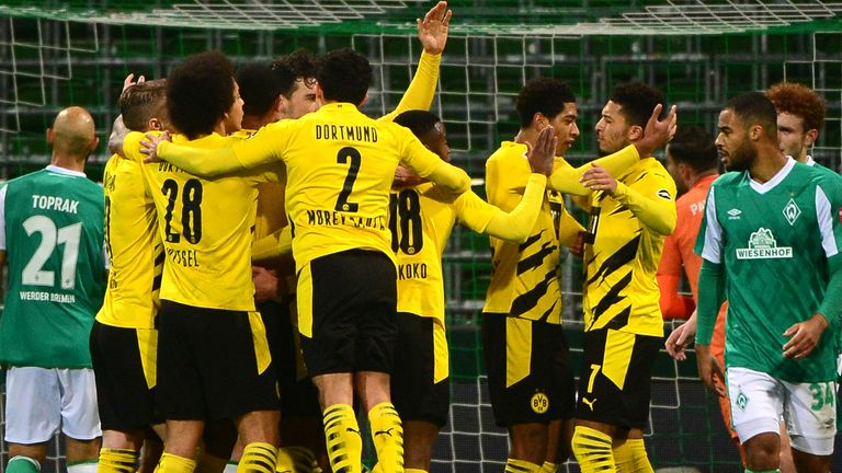 Borussia Dortmund celebrate their opening goal against Werder Bremen