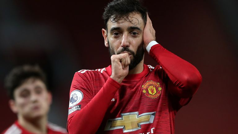 Bruno Fernandes celebrates scoring Man Utd's third goal of the game