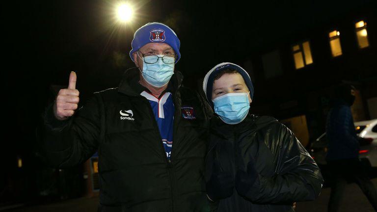 Carlisle fans outside Brunton Park