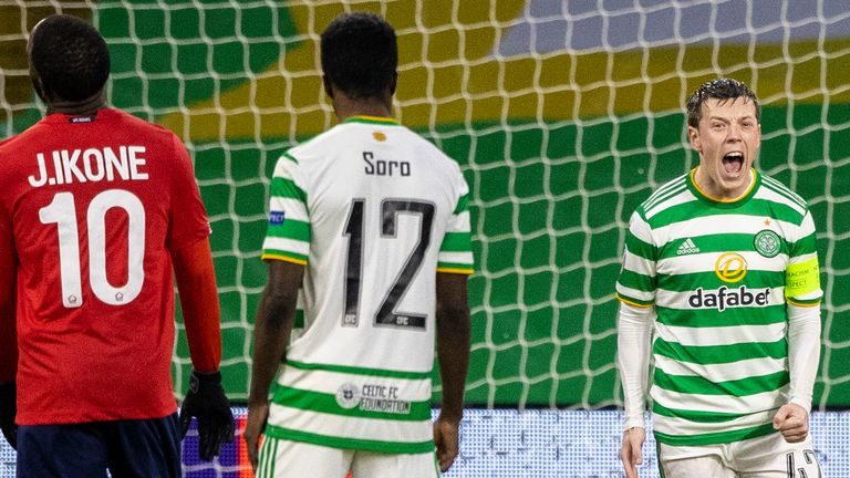 Celtic's Callum McGregor makes it 2-1 from the penalty spot against Lille
