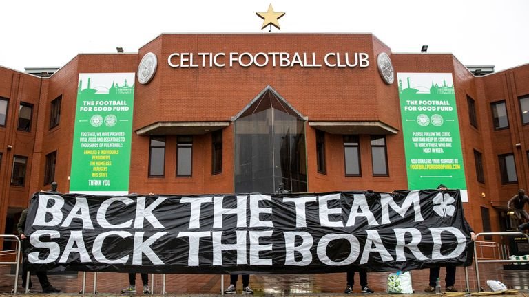 Pre-Match Protest during a Scottish Premiership match between Celtic and Kilmarnock at Celtic Park, on December 13
