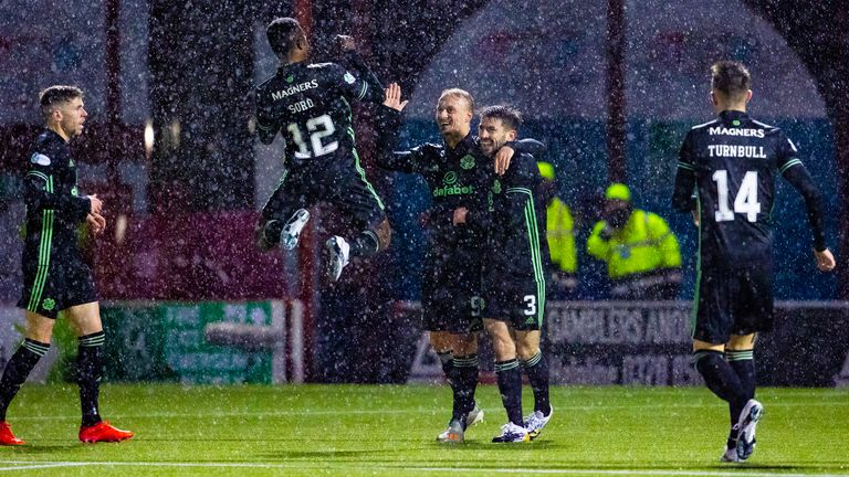 Leigh Griffiths scored the second of Celtic's three goals at Hamilton