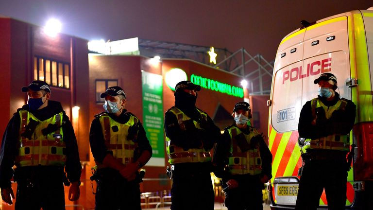 There was a police presence outside Celtic Park following their two most recent home matches against Ross County and St Johnstone