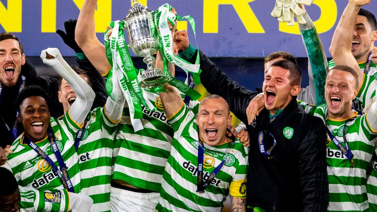 GLASGOW, SCOTLAND - DECEMBER 20: Celtic Captain Scott Brown lifts the 2019/2020 Scottish Cup during the William Hill Scottish Cup Final between Celtic and Hearts at Hampden Park, on December 20, 2020, in Glasgow, Scotland. (Photo by Craig Foy / SNS Group)