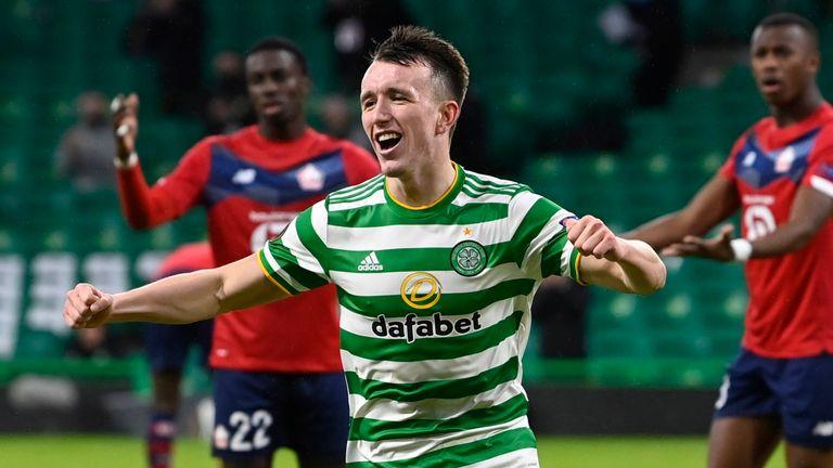 David Turnbull celebrates making it 3-2  at Celtic Park on Thursday