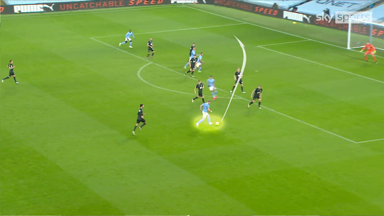 De Bruyne enjoys a lot of success when he drops into pockets in centre-right areas, as he did here, assisting Benjamin Mendy against Burnley