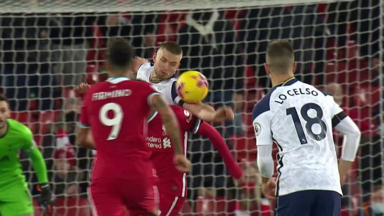Eric Dier escaped conceding a penalty for handball at Anfield