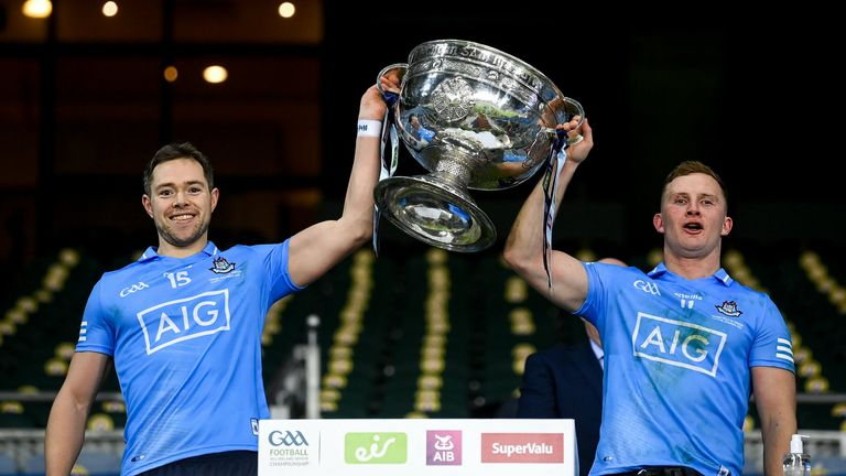 Dean Rock and Ciarán Kilkenny lift the Sam Maguire Cup