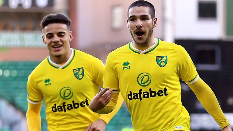 Norwich City's Emi Buendia celebrates scoring his side's first goal