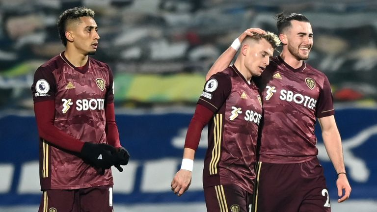 Ezgjan Alioski celebrates scoring Leeds' second goal