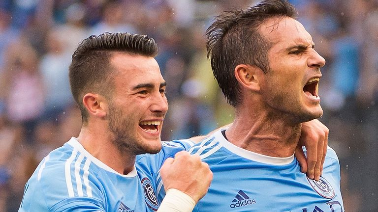 Jack Harrison and Frank Lampard at Yankee Stadium on July 30, 2016 in New York City.