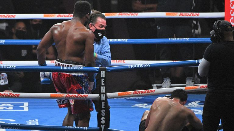 The fight was waved off after Sanchez punched his opponent out of the ring