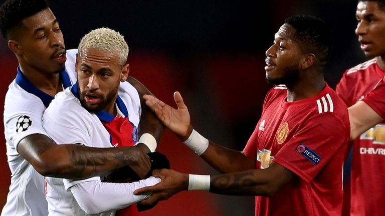 Fred was sent off in the second half at Old Trafford