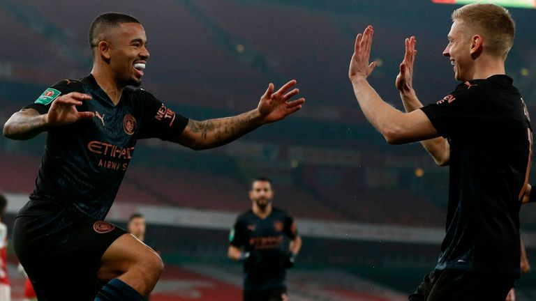 Gabriel Jesus celebrates after giving Manchester City an early lead against Arsenal in the Carabao Cup quarter-finals
