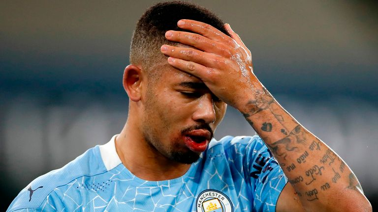 Gabriel Jesus shows his frustration after a missed chance