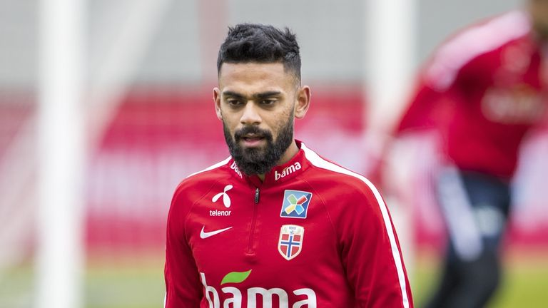 Ghayas Zahid of Norway during training before Iceland v Norway on May 31, 2018 in Keflavik, Iceland