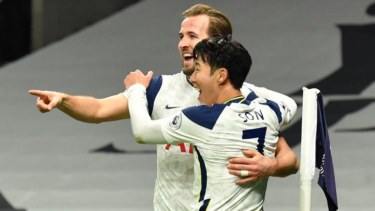 Goalscorer Harry Kane celebrates with Heung-min Son