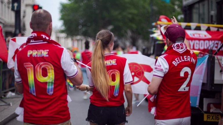 Hector Bellerin shirt worn by Arsenal fan of Gay Gooners, Pride in London 2019, Rainbow Laces
