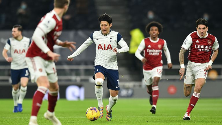 Heung-min Son in action during the north London derby at Tottenham Hotspur Stadium