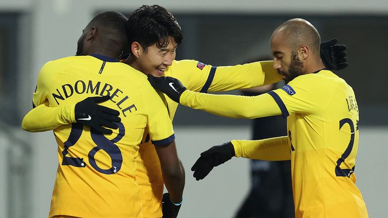 Heung-Min Son is congratulated after giving Spurs a 2-1 lead at LASK