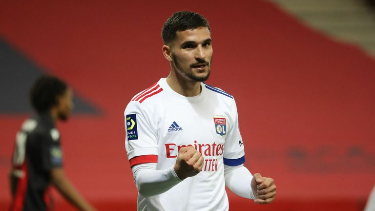 Houssem Aouar netted Lyon's fourth as they went top of Ligue 1