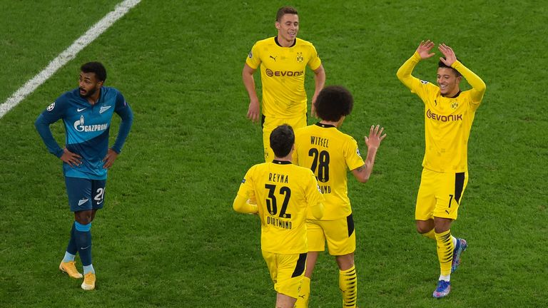 Jadon Sancho celebrates with his Borussia Dortmund team-mates against Zenit