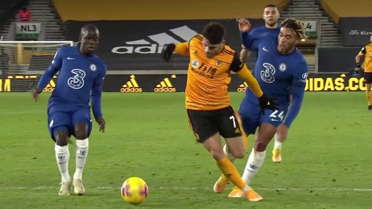 Pedro Neto goes to ground but VAR spots there had been no contact from Reece James