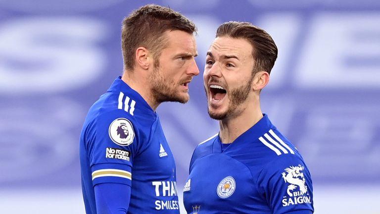 Jamie Vardy celebrates his second-half equaliser with James Maddison