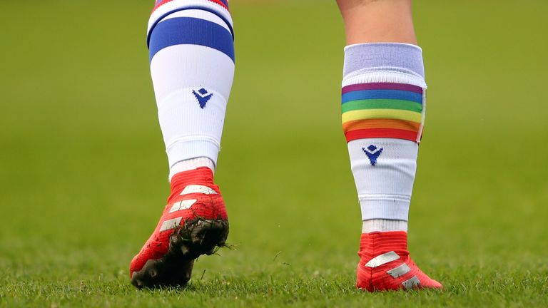 READING, ENGLAND - DECEMBER 06: A Rainbow coloured sock worn by Jess Fishlock of Reading during the Barclays FA Women's Super League match between Reading Women and Bristol City Women at Madejski Stadium on December 6, 2020 in Reading, England. (Photo by Marc Atkins/Getty Images)