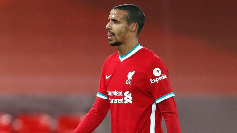 Liverpool's Joel Matip went off injured with a groin problem  against West Brom