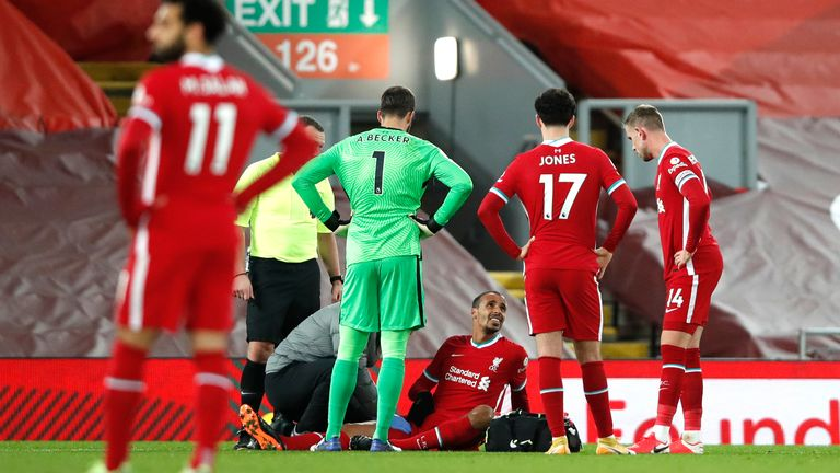 Joel Matip recieved treatment and was substituted after injuring his groin against West Brom