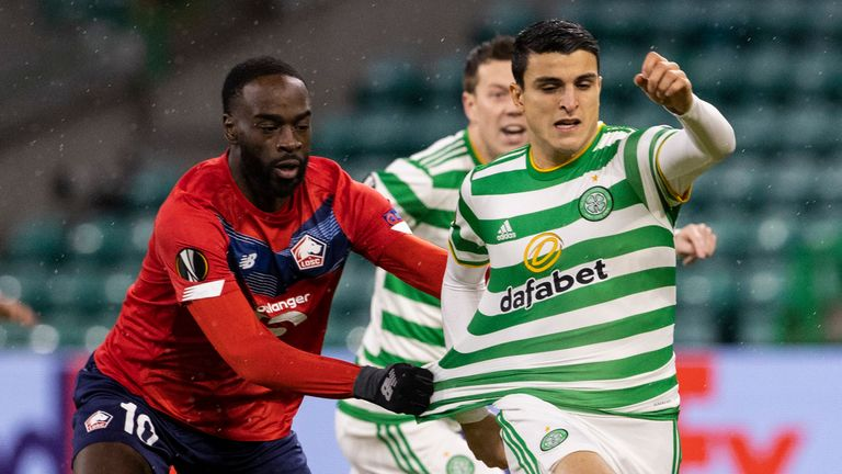 Lille's Jonathan Ikone (left) battles with Celtic's Mohamed Elyounoussi
