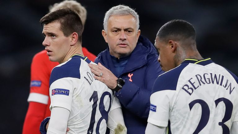 Tottenham Hotspur's Portuguese head coach Jose Mourinho (C) reacts with Tottenham Hotspur's Argentinian midfielder Giovani Lo Celso (L) and Tottenham Hotspur's Dutch midfielder Steven Bergwijn