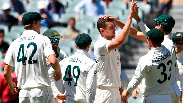 Hazlewood passed 200 Test wickets during a stunning spell of fast bowling