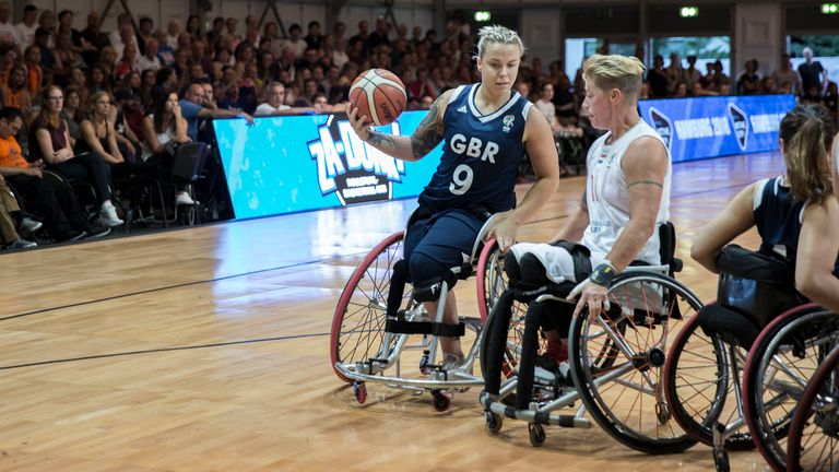 Hamer in action for Great Britain against the Netherlands in Hamburg (image: British Wheelchair Basketball/SA Images)