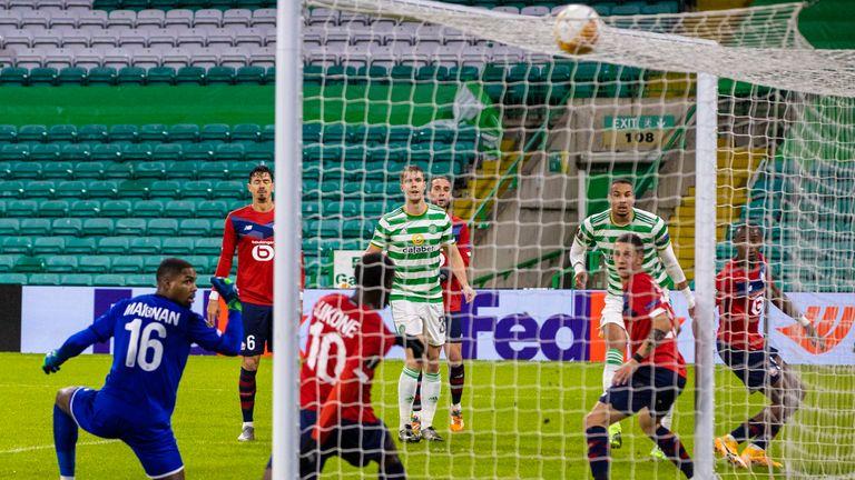 Jullien heads home to make it 1-0 in Glasgow on Thursday