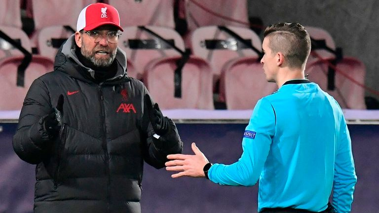 Jurgen Klopp discusses another VAR decision with the referee