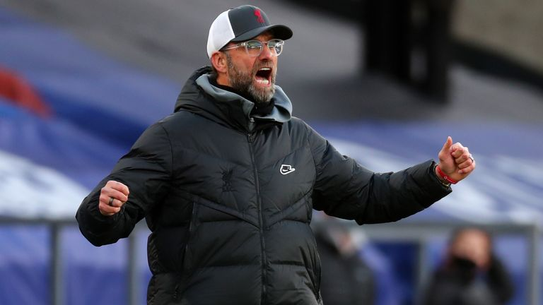 Jurgen Klopp celebrates during Liverpool's 7-0 win at Crystal Palace