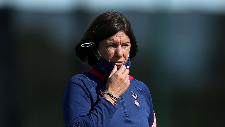 Karen Hills, manager of Tottenham Hotspur looks on during the Barclays FA Women's Super League match between Everton and Tottenham Hotspur at Walton Hall Park on September 13, 2020 in Liverpool, England