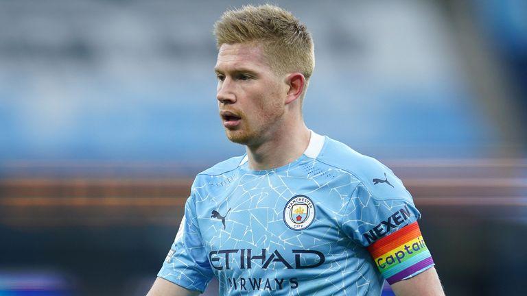 Kevin De Bruyne, Manchester City vs Fulham, Premier League, rainbow captains armband