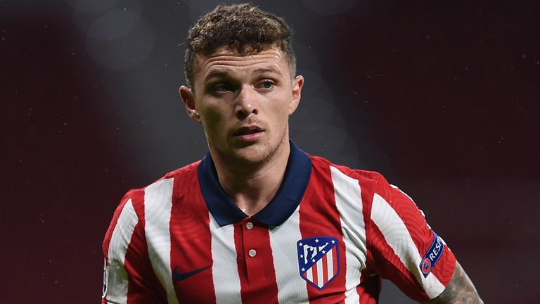 Kieran Trippier of Club Atletico de Madrid runs to take a corner kick during the UEFA Champions League Group A stage match between Atletico Madrid and Lokomotiv Moskva at Estadio Wanda Metropolitano on November 25, 2020 in Madrid, Spain. Football Stadiums around Europe remain empty due to the Coronavirus Pandemic as Government social distancing laws prohibit fans inside venues resulting in fixtures being played behind closed doors. (Photo by Denis Doyle/Getty Images)