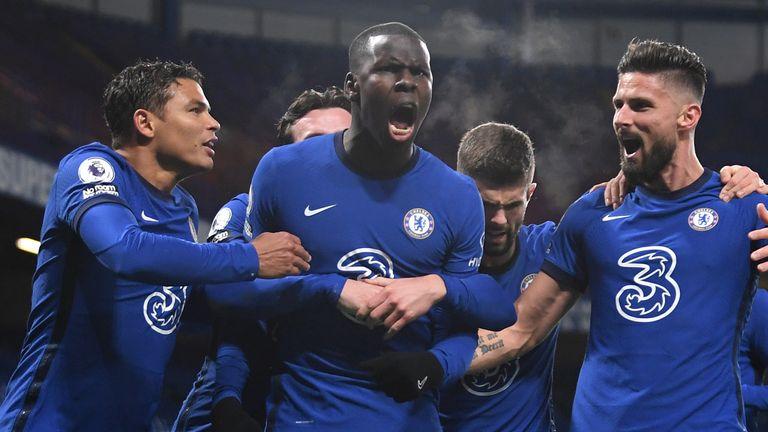 Kurt Zouma celebrates after putting Chelsea 2-1 up against Leeds