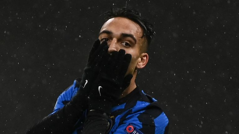 Lautaro Martinez responds to a missed chance for Inter Milan