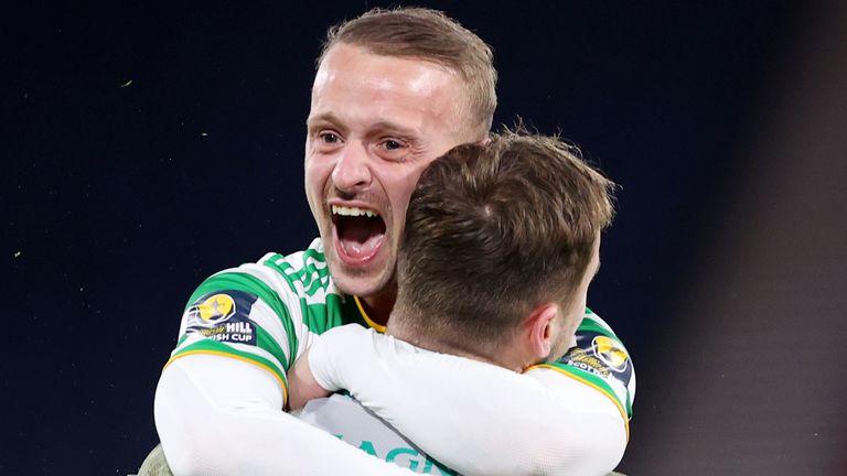 Leigh Griffiths celebrates with penalty shootout hero Conor Hazard