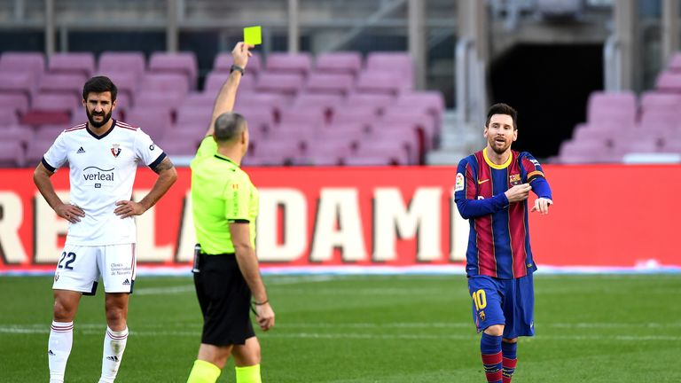 Messi was shown a yellow card in the aftermath of his Maradona tribute