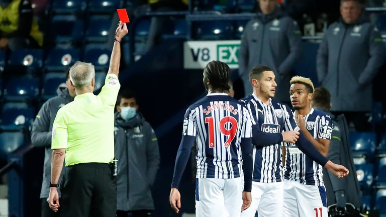 Jake Livermore was shown a straight red by referee Martin Atkinson, who was instructed to view the pitchside monitor after initially issuing a yellow
