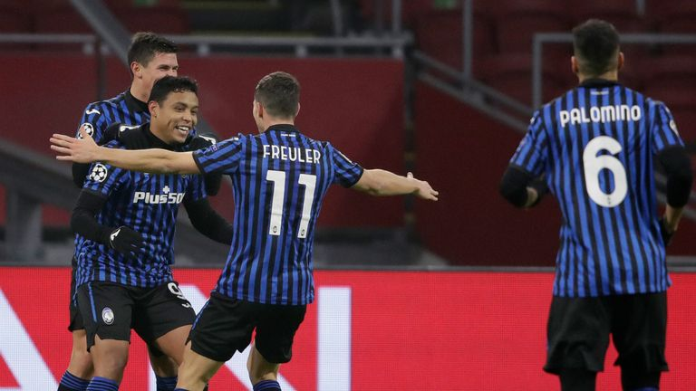 Luis Muriel scored the only goal as Atalanta defeated Ajax in Amsterdam